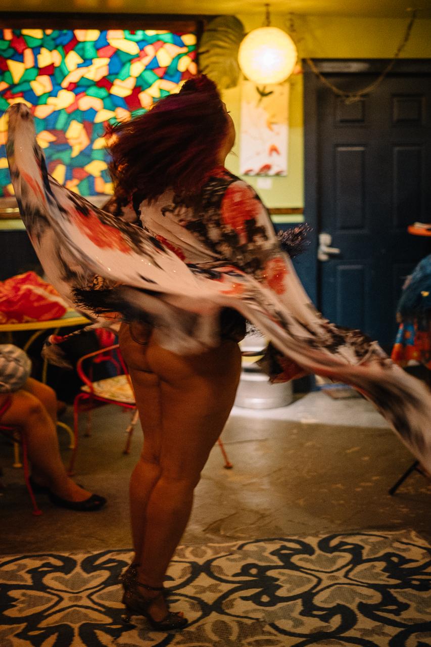 The spinning dress of a burlesque dancer