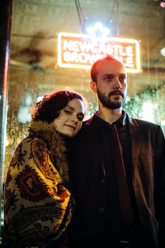 Portraits of a musical couple in a band called Reliant Tom
